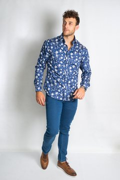 Camisa HANS Slim Fit Azul en internet