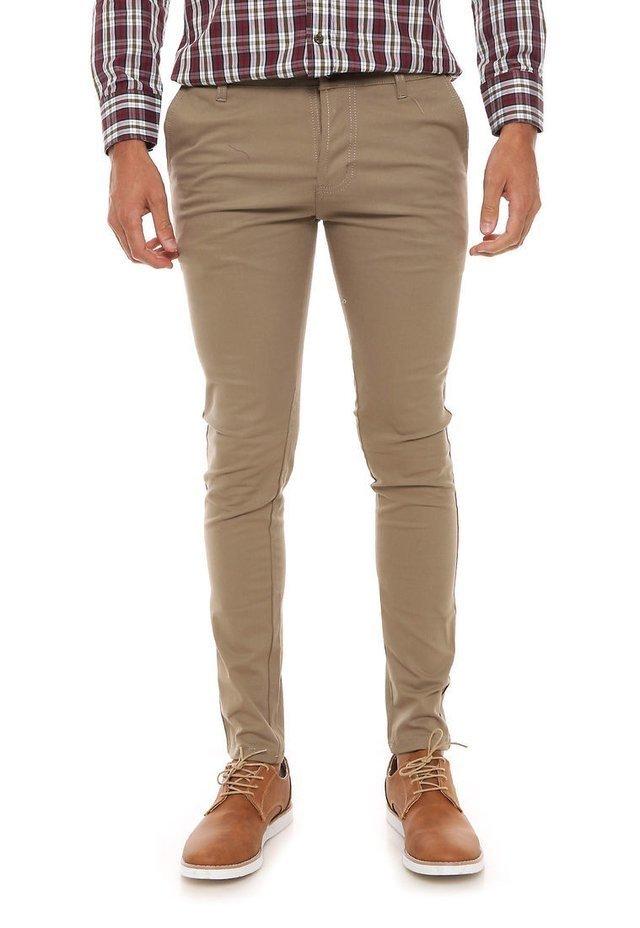 Pantalones De Gabardina Tostado Para Hombres