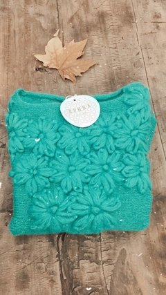 Sweater Bordado 100% Lana Mohair