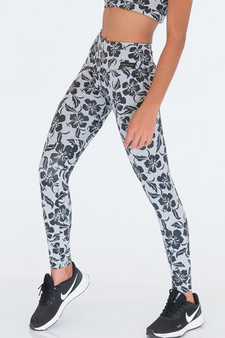 Legging Fitness Estampada Preto Floral Up