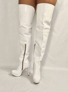 BOTA OVER THE KNEE  MEIA PATA E SALTO FINO BRANCO 740116 G - Au Bottier