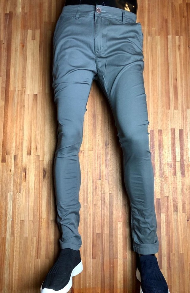 Pantalon Chupin Gabardina Vestir Gris Minimal Store
