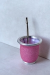Mate Vidrio Rosa Chicle Glitter.
