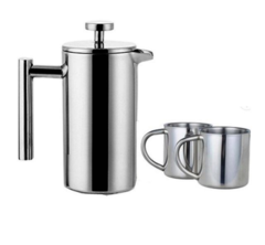 SET CAFETERA EMBOLO ACERO INOXIDABLE 350 ML