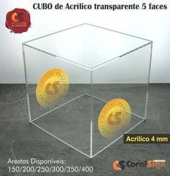 CUBO 5 FACES Acrílico 4mm Transparente - comprar online
