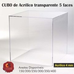 CUBO 5 FACES Acrílico 4mm Transparente na internet