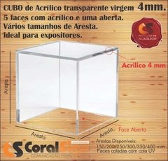 CUBO 5 FACES Acrílico 4mm Transparente