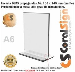 Display Acrílico dupla face base dobrada A6