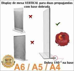 Display Acrílico dupla face base dobrada A6 na internet