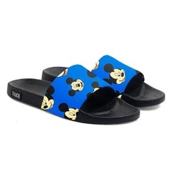 Chinelo Slide Praia Use Praieiro Mickey Caras Azul