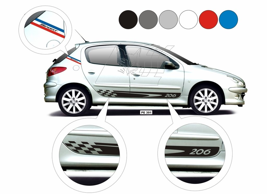 Acessorios Kit Adesivo Peugeot 206 Sw Faixa Lateral Peugeot Tuning