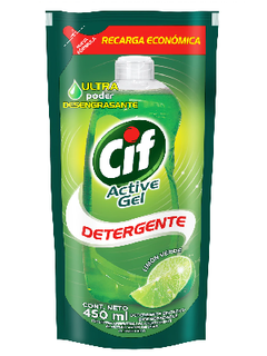 Detergente CIF Active-Gel  Doy Pack Limón Verde 450 Ml