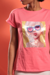 T-Shirt com Estampa e Hot Fix - Rosa