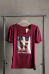 Camiseta com Hot Fix Salto - Vinho