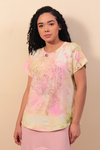 T-Shirt Tie Dye com Hot Fix - Amarelo