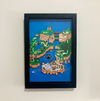 Quadro 3D Super Mario World Mapa