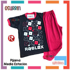 Pijama media estación Roblox Remera manga corta + Pantalón largo