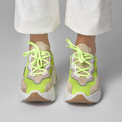CHUNKY SNEAKER - Off White & Neon Lima - Smidt Shoes