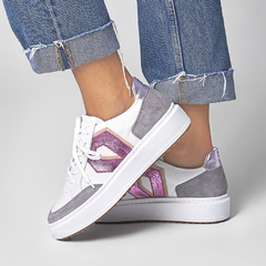 SNEAKER DIAMOND - White, Titânio, Metalizado Rosa - Smidt Shoes