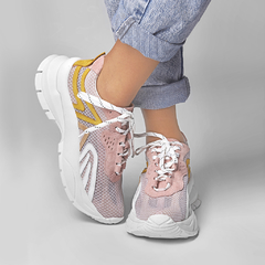 SNEAKER S3 - Rosa, Branco & Yellow - Smidt Shoes