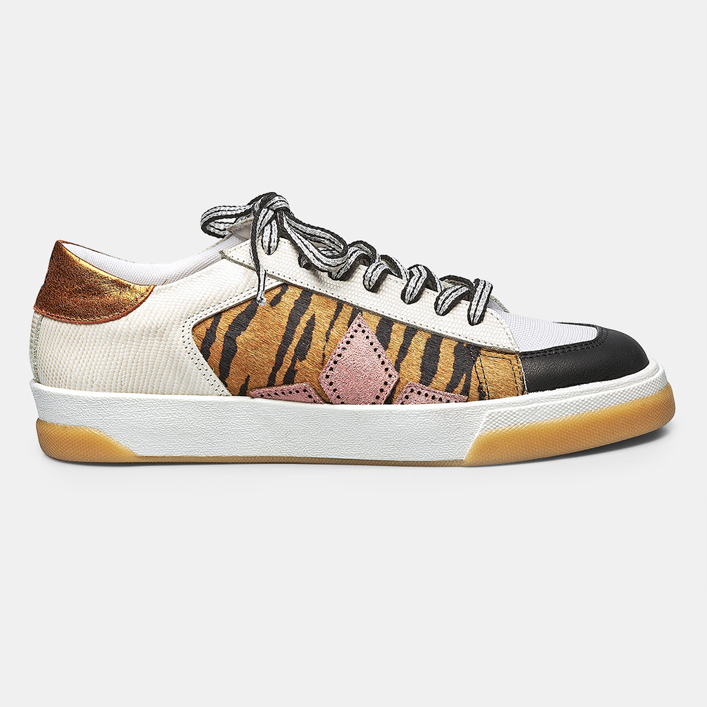 TÊNIS DIAMOND STAR - PRETO, ANIMAL PRINT, OFF WHITE & LARANJA