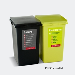 Recipiente Adosable con Tapa Plana 60 Lts. Plástico Colombraro