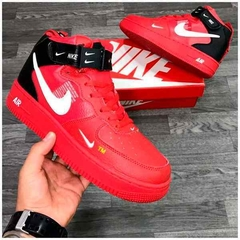 Tenis Nike Air Force One Fow Utility Cano Alto Vermelho Masculino - Time Compra