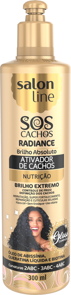 ATIVADOR DE CACHOS SALON LINE SOS 300ML RADIANTE BRILHO ABSOLUTO