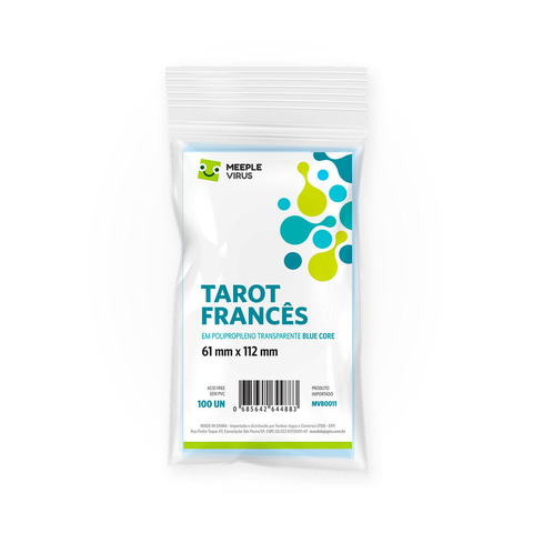 Sleeve Tarot Francês (61 mm x 112 mm) - Meeple Virus Blue Core