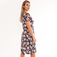 Vestido gola canoa c/ mg ciganinha - Le Dress