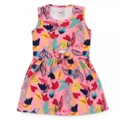 Vestido Infantil com Estampa Tropical Messy - Rosa
