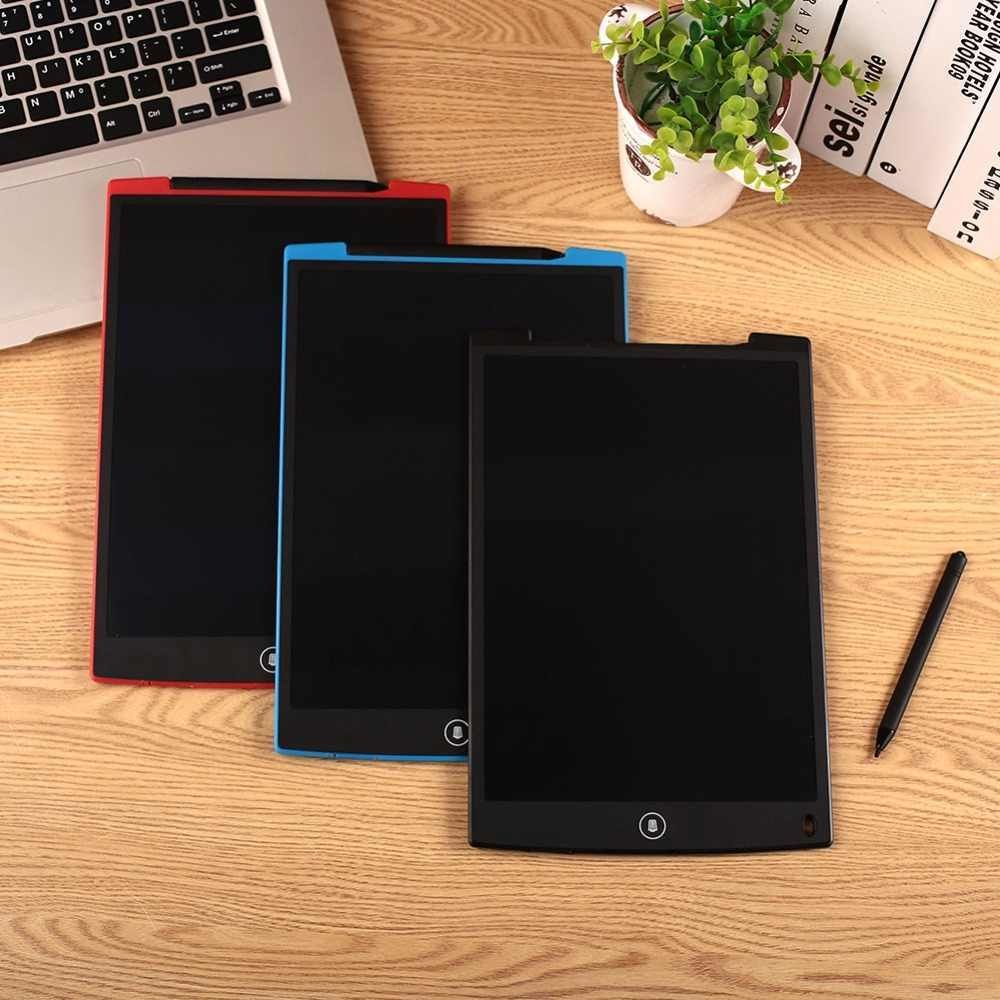 Tableta de escritura LCD de 12 pulgadas Sin retroiluminaci/ón LED Tabletas de dibujo gr/áficas Escritor electr/ónico digital Tablero de dibujo de escritura a mano borrable para ni/ños adultos Cielo azul