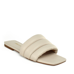 Rasteira Slide Puffy Costuras Napa Off White - comprar online