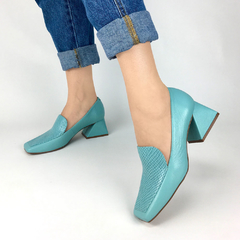 Scarpin Loafer Salto Flare Couro Naturalle Mint