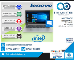NOTEBOOK LENOVO V15 INTEL I3/SSD256/15.6