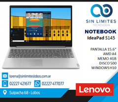 Notebook Lenovo Ideapad S145 A4 9125 4gb 500gb W10 Original