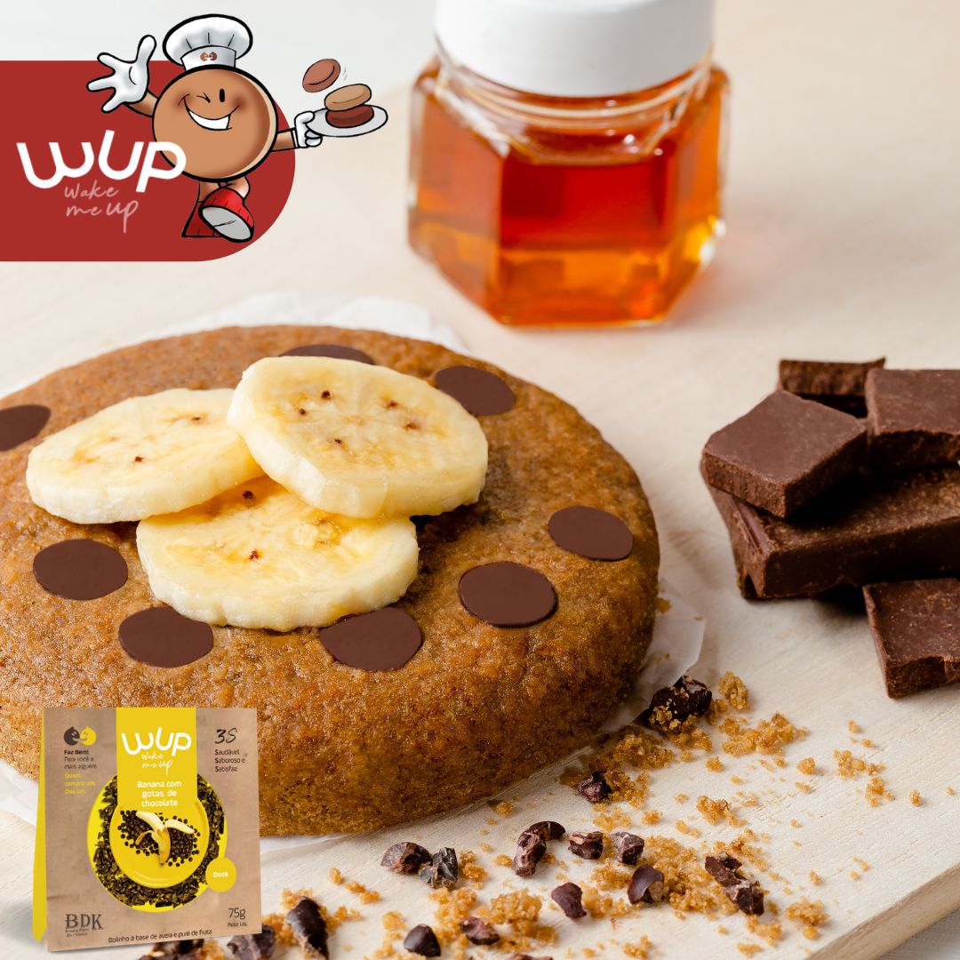 WUP Banana com Gotas de Chocolate Lanche Saudável - Wake Me UP