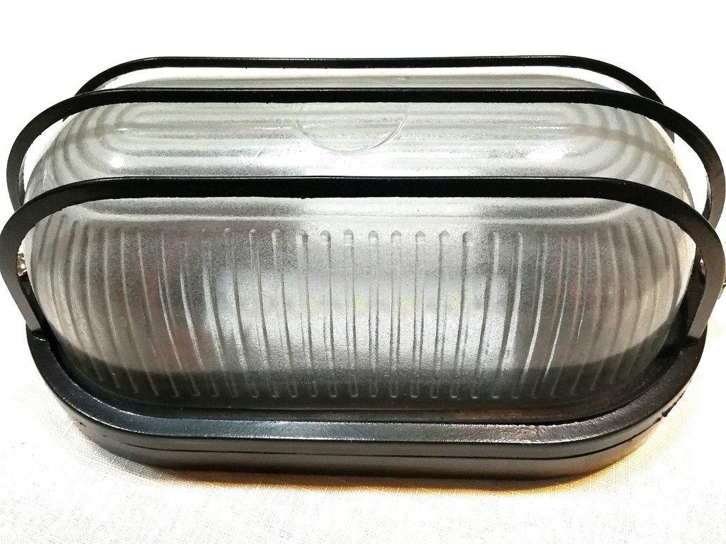 Luminaria ECOLED 5W exterior tipo tortuga oval aluminio negro vidrio c/rejilla