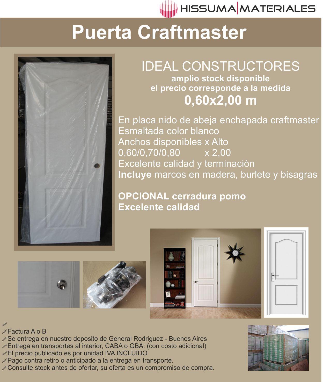 Puerta tipo craftmaster 0,60/0,70/0,80x2,00 mt c/marco de madera+ ...
