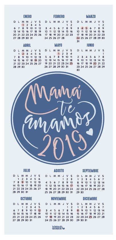 Calendario 2019 Imprimible Dia De La Madre Mama Te Amamos