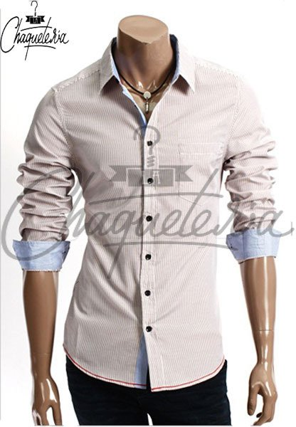 Camisa SLIM FIT; Ref: Ario Striped Brown - Marca LaChaqueteria - LACHAQUETERIA
