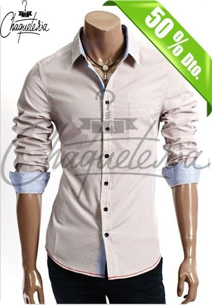 Camisa SLIM FIT; Ref: Ario Striped Brown - Marca LaChaqueteria
