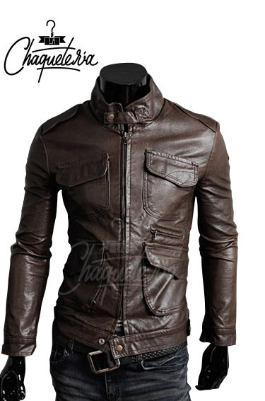 Chaqueta En Cuero Armand Dark Brown
