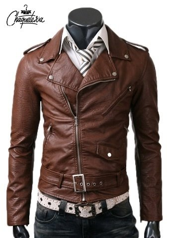 Chaqueta En Cuero Bison Brown