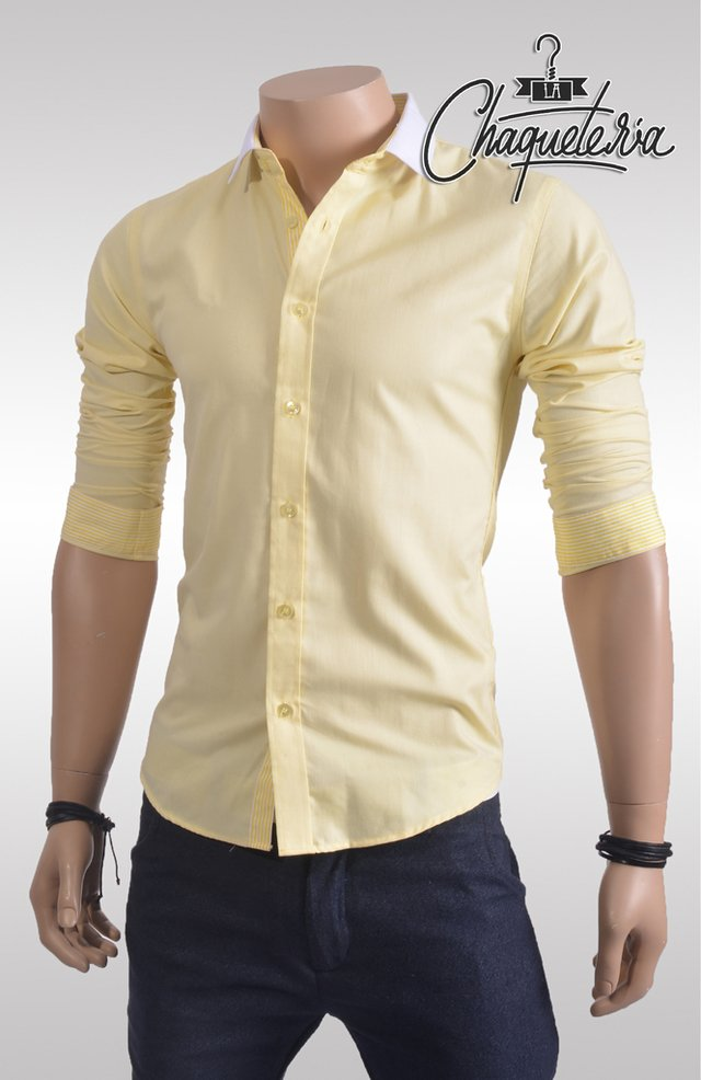 Camisa SLIM FIT; Ref: Guade Yellow - Marca La Chaquetería on internet