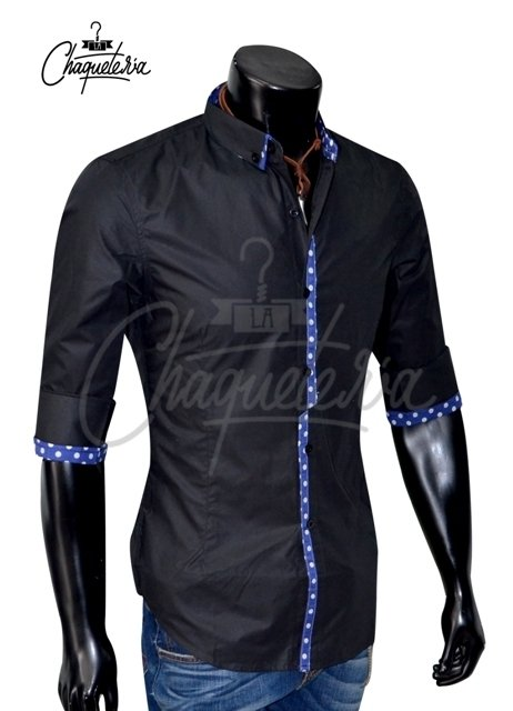 Camisa Algodón Slim Fit varri Black en internet