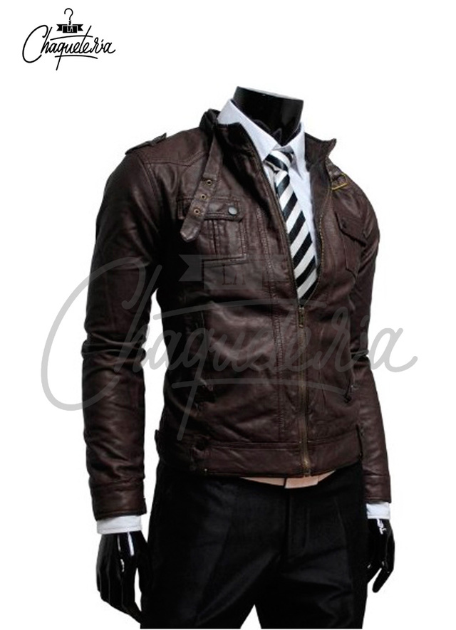 CHAQUETA EN CUERO JIN DARK BROWN MARCA Lachaqueteria on internet