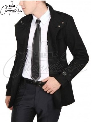 Abrigo SLIM FIT; Ref: Mago Black - Marca LaChaqueteria on internet