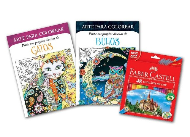 Set De Libros Para Colorear: Buhos + Gatos + 48 Colores Faber Castell