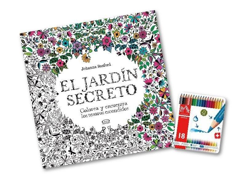 Set de Libro Para Colorear: Jardín Secreto + Lapices Caran D\'Ache x18